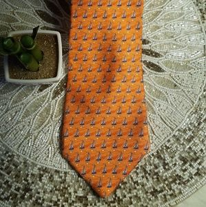 Tommy Hilfiger Orange Sailboat Imported Silk Tie